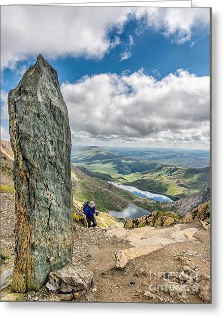 Stone Steps Greeting Cards - The Snowdon Obelisk Greeting Card by Adrian Evans