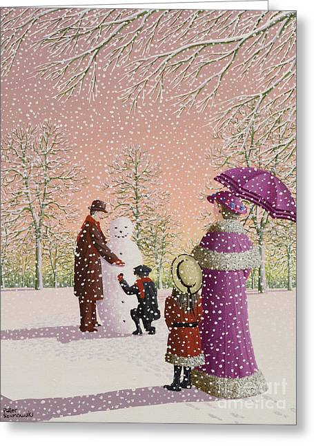Slush Greeting Cards - The Snowman Greeting Card by Peter Szumowski