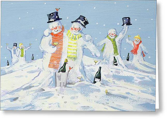 The Snowmen's Party Greeting Card by David Cooke
