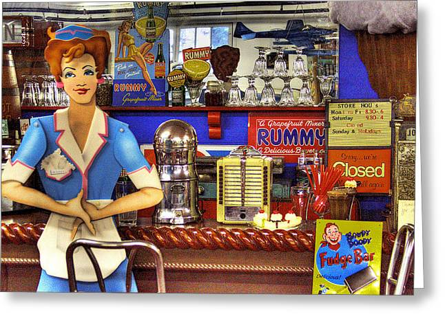 The Soda Fountain Greeting Card by David Patterson