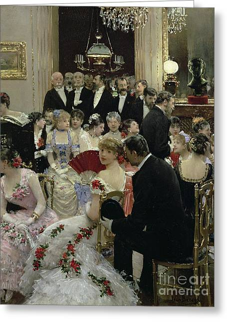 Chandelier Greeting Cards - The Soiree Greeting Card by Jean Beraud