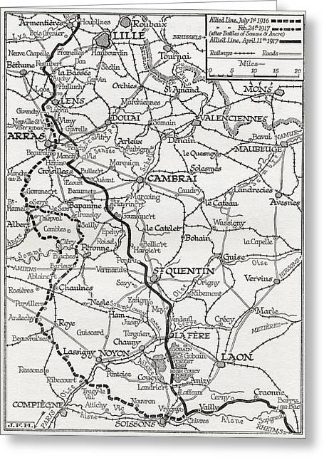 Somme Greeting Cards - The Somme And The Ancre. Map Shows Greeting Card by Ken Welsh