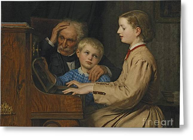 1874 Greeting Cards - The Song Of The Homeland Greeting Card by Albert Anker