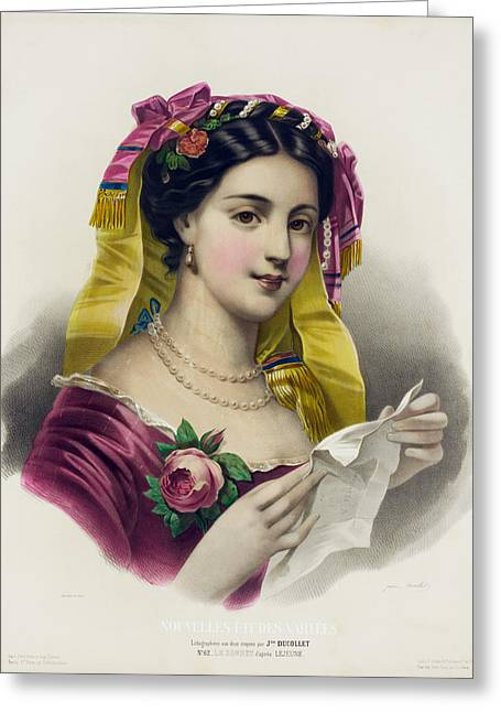 Low-cut Dress Greeting Cards - The Sonnet after Lejeune Greeting Card by Josepine Ducollet
