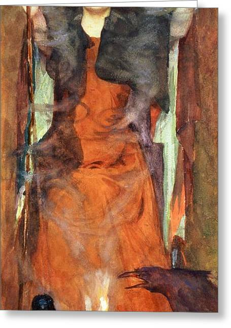 Crooked Greeting Cards - The Sorceress Greeting Card by Henry Meynell Rheam