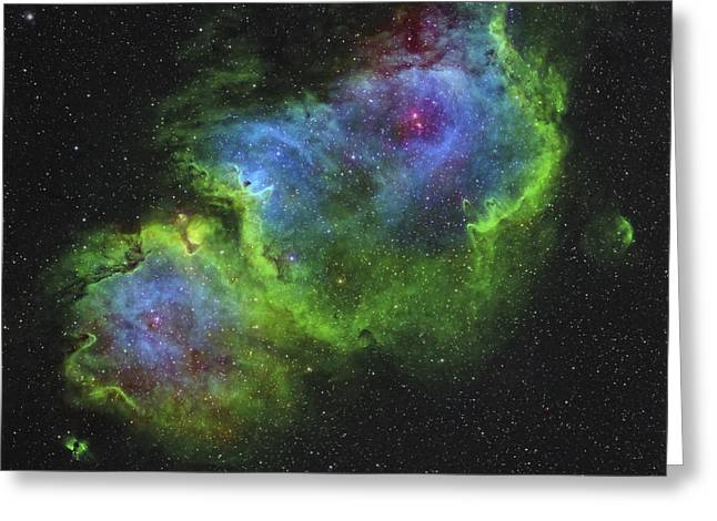 Starforming Greeting Cards - The Soul Nebula Greeting Card by Rolf Geissinger