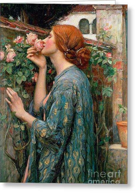 Woman Canvas Greeting Cards - The Soul of the Rose Greeting Card by John William Waterhouse