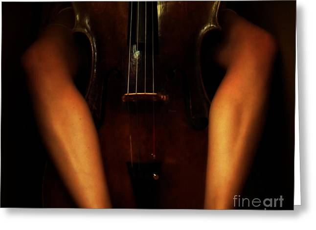 Cellist Greeting Cards - The Sound of Eroticism   Greeting Card by Steven  Digman