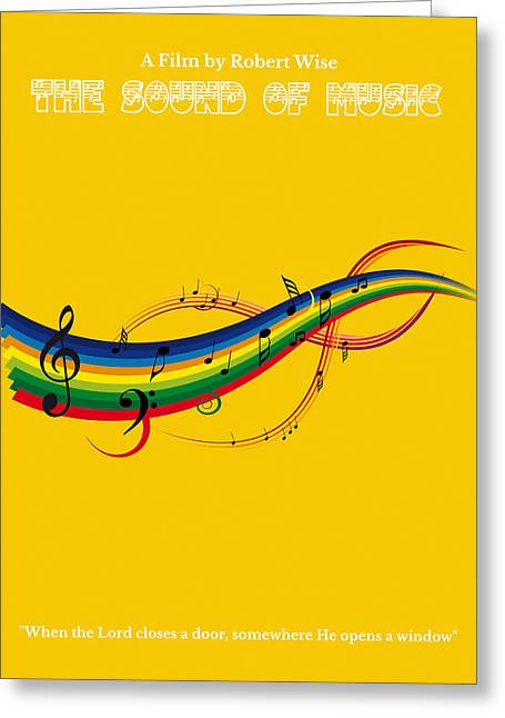 Musical Film Paintings Greeting Cards - The Sound of Music Minimalist Movie Poster  Greeting Card by Celestial Images