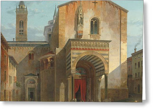 The South Entrance Of The Church Of Santa Maria Maggiore Greeting Card by Celestial Images