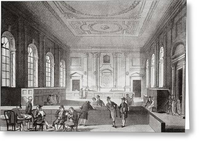 Historical Buildings Drawings Greeting Cards - The South Sea House Threadneedle Street Greeting Card by Ken Welsh