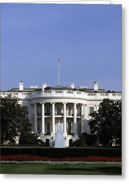 Capitol Flowers Greeting Cards - The South View Of The White House Greeting Card by Taylor S. Kennedy