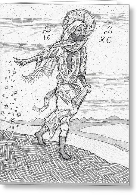 Parable Drawings Greeting Cards - The Sower Greeting Card by Jonathan Edward Shaw