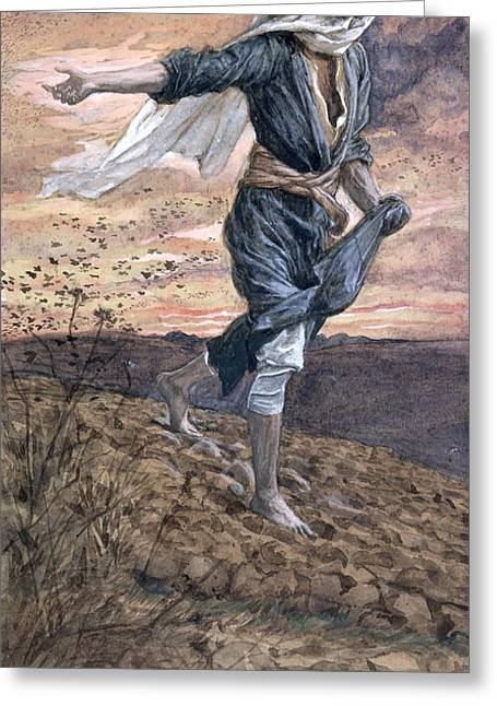 Religious Paintings Greeting Cards - The Sower Greeting Card by Tissot