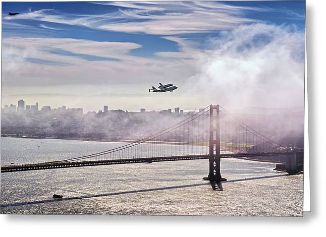 The Space Shuttle Endeavour Over Golden Gate Bridge 2012 Greeting Card by David Yu