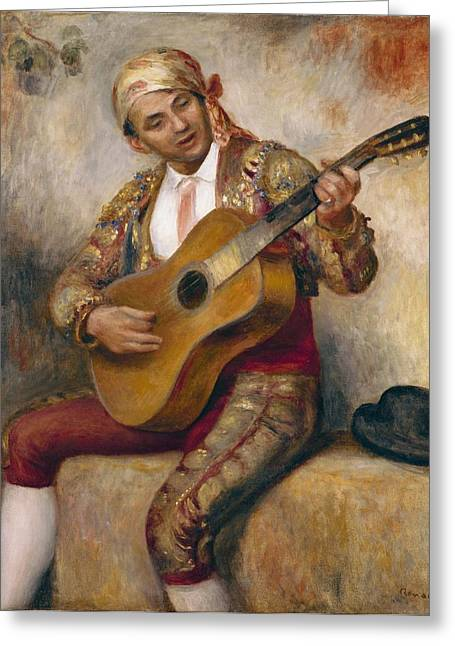 Strumming Greeting Cards - The Spanish Guitarist Greeting Card by Pierre Auguste Renoir