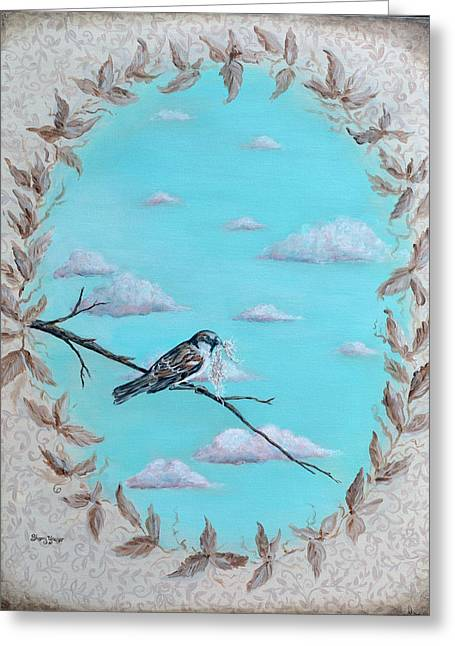 Birds On A Branch Greeting Cards - The Sparrow Greeting Card by Sherry Yaeger