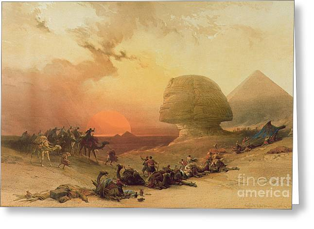 Sunlit Greeting Cards - The Sphinx at Giza Greeting Card by David Roberts