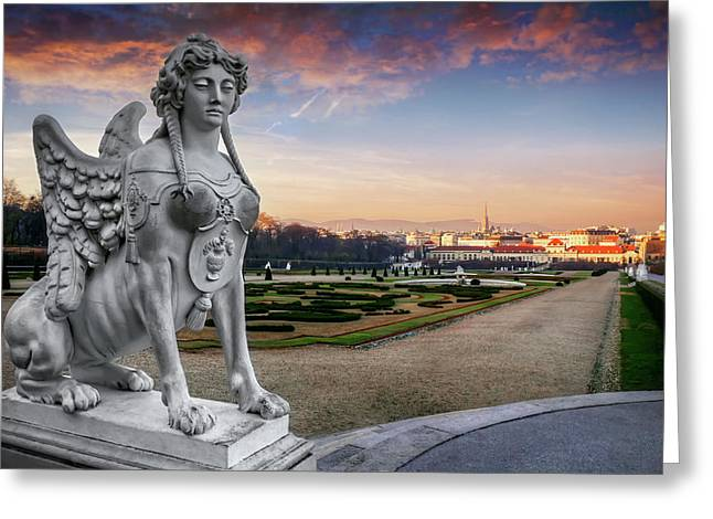 The Sphinx Of The Belvedere Vienna  Greeting Card by Carol Japp