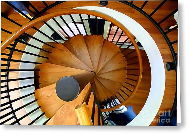 Abstract Digital Photographs Greeting Cards - The Spiral Staircase Greeting Card by Ed Weidman