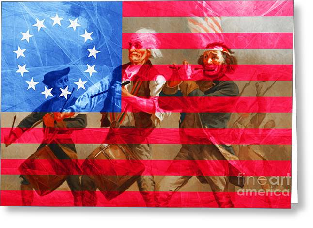 The Spirit Of 76 And The American Flag 20150704 Greeting Card by Wingsdomain Art and Photography