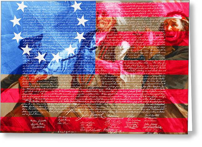 4 July Greeting Cards - The Spirit of 76 The American Flag And The Declaration Of Independence 20150704square Greeting Card by Wingsdomain Art and Photography