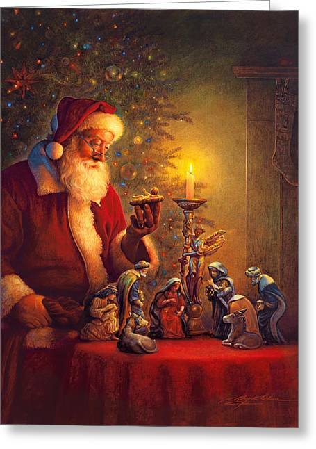 Santa Greeting Cards - The Spirit of Christmas Greeting Card by Greg Olsen