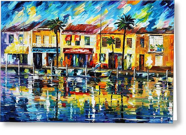 the spirit of miami  Greeting Card by Leonid Afremov