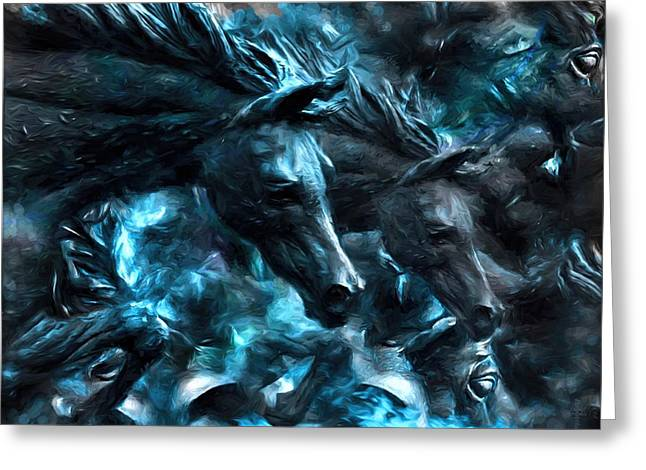 The Horse Greeting Cards - The Spirit Of The War Horses  Greeting Card by Daniel  Arrhakis