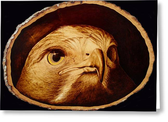 Woodburnings Pyrography Greeting Cards - The Spotter Greeting Card by Jo Schwartz
