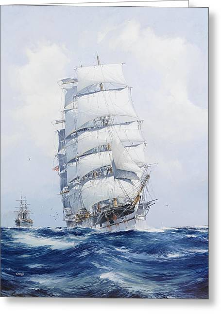 Seagoing Greeting Cards - The Square-Rigged Clipper Argonaut Under Full Sail Greeting Card by Jack Spurling