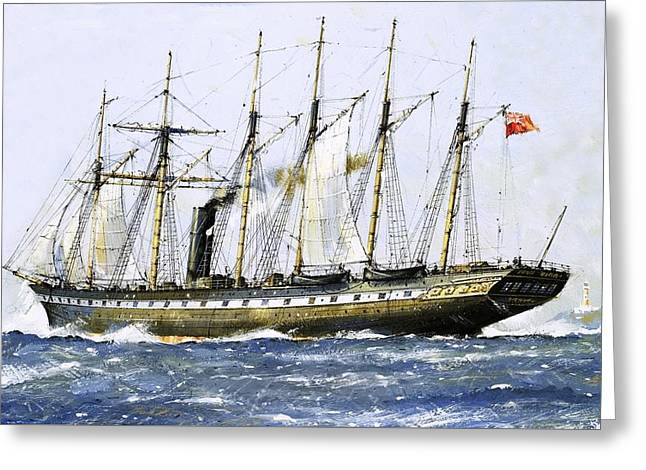 Pirate Ships Paintings Greeting Cards - The SS Great Britain Greeting Card by John S Smith