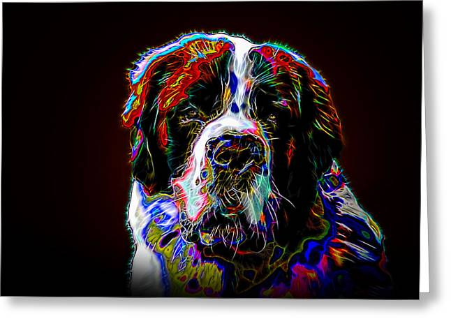 Working Dog Greeting Cards - The St. Bernard Greeting Card by Alexey Bazhan