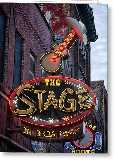 Live Music Greeting Cards - The Stage Nashville Greeting Card by Mike Burgquist