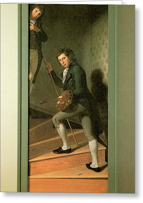 Winding Staircases Greeting Cards - The Staircase Group Greeting Card by Charles Wilson Peale