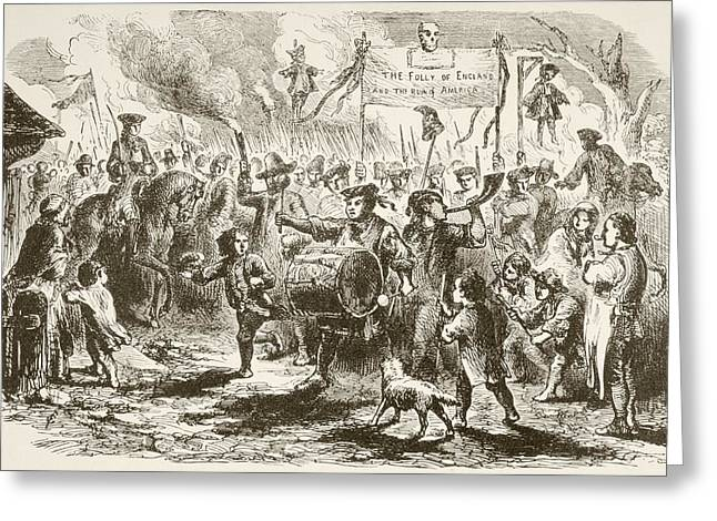 Protest Drawings Greeting Cards - The Stamp Act Riots In New York, 1765 Greeting Card by Ken Welsh