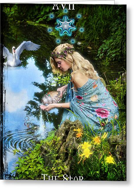Pouring Digital Art Greeting Cards - The Star Greeting Card by Tammy Wetzel
