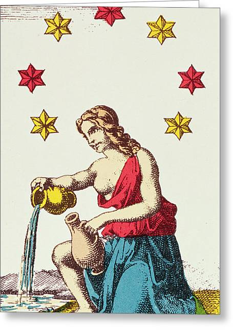 Water Jug Greeting Cards - The Star  Tarot Card Greeting Card by French School