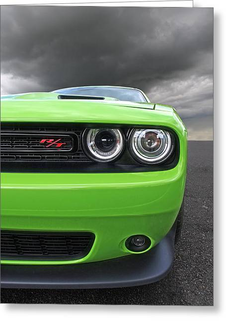 Mopar Collector Greeting Cards - The Stare - Challenger RT Greeting Card by Gill Billington