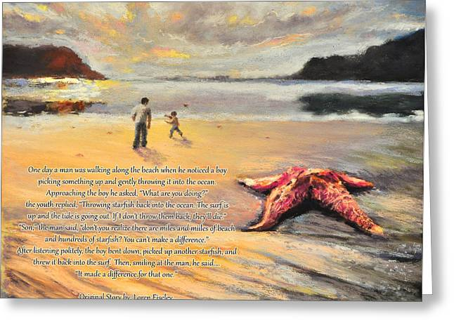 Star Pastels Greeting Cards - The Starfish Greeting Card by Susan Jenkins