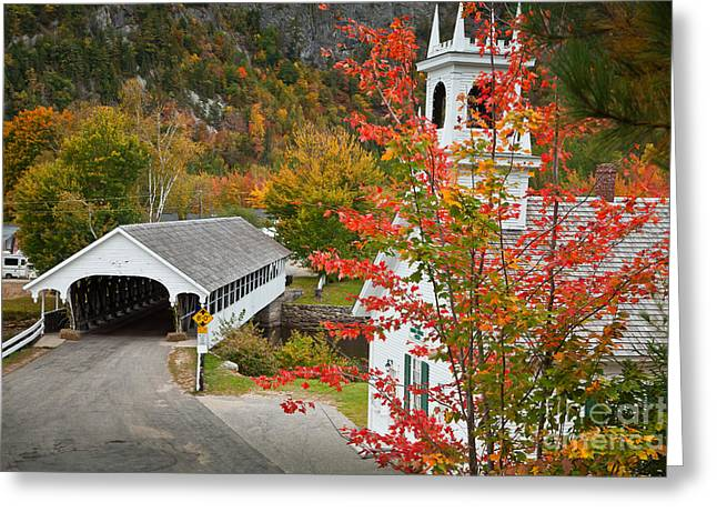 New England Village Greeting Cards - The Stark Bridge Greeting Card by Susan Cole Kelly