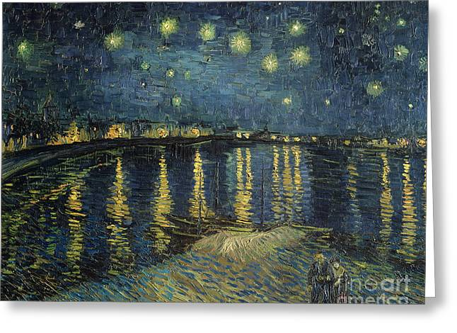 Reflections Paintings Greeting Cards - The Starry Night Greeting Card by Vincent Van Gogh