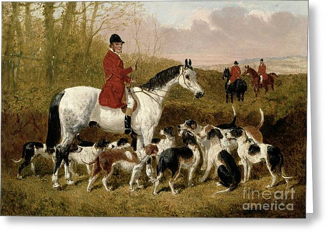 Hunting Greeting Cards - The Start  Greeting Card by John Frederick Herring Snr