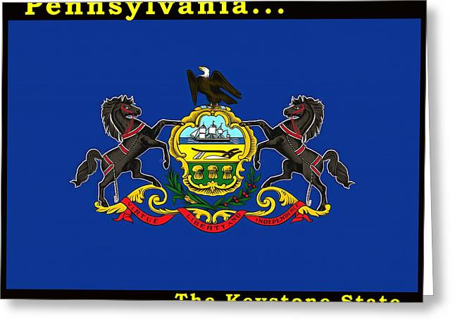 Quaker Paintings Greeting Cards - The State Flag of Pennsylvania Greeting Card by Floyd Snyder