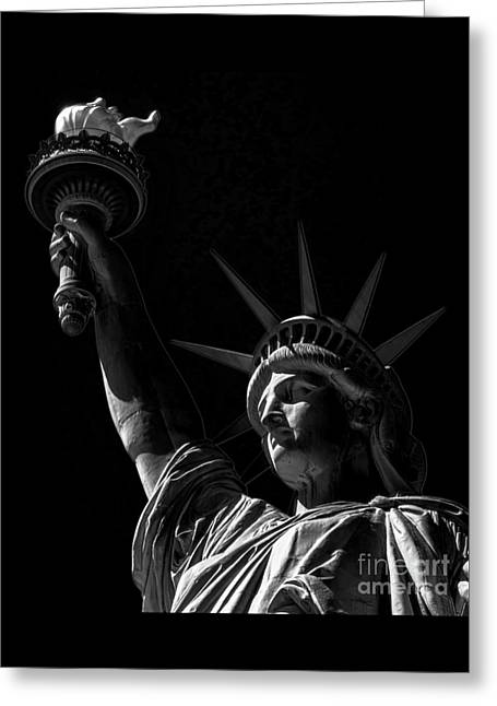 The Statue Of Liberty - Bw Greeting Card by James Aiken