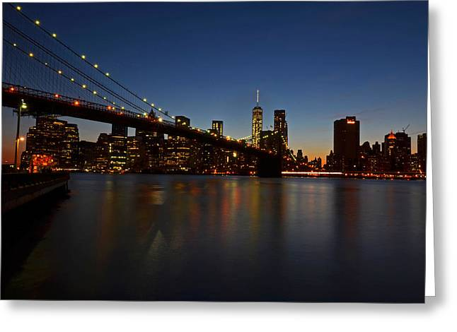 Ocean. Reflection Greeting Cards - Brooklyn Bridge in New York City Greeting Card by Toby McGuire
