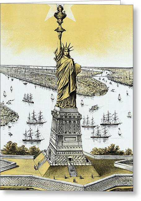 Liberty Island Greeting Cards - The Statue of Liberty - Vintage Greeting Card by War Is Hell Store