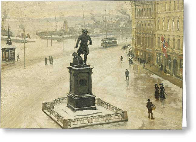 Norway Harbor Greeting Cards - The Statue of Tordenskiold Facing Piperviken Greeting Card by Paul Fischer