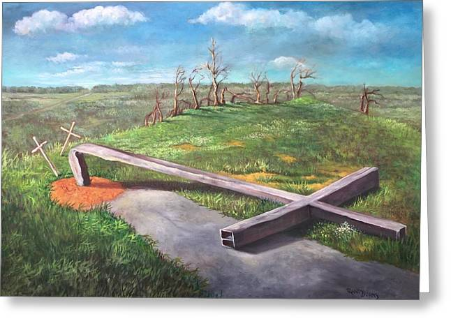 Topple Greeting Cards - The Steel Cross  Greeting Card by Randy Burns