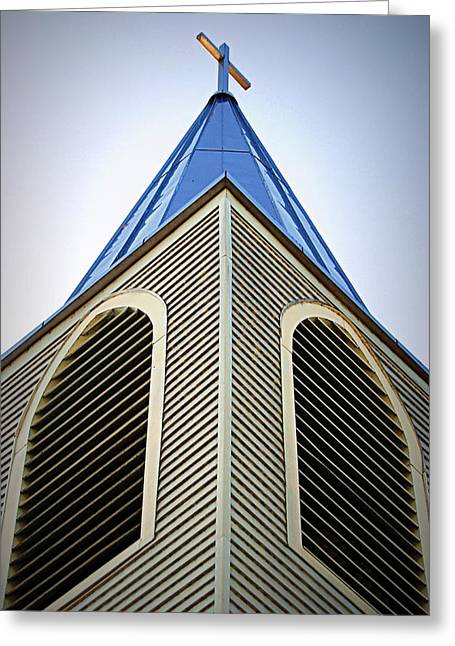 Hartsburg Greeting Cards - The Steeple at Peace Church Greeting Card by Cricket Hackmann
